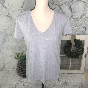 Zara W&B Plain Gray T-shirt High Low V-neck Large